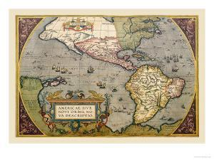 Map of the Americas by Abraham Ortelius