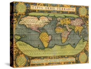Oval World Map 1598 by Abraham Ortelius