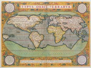 Typus Orbis Terrarum, map of the world, from Ortelius's 'Theatrum Orbis Terrarum', Antwerp, 1570 by Abraham Ortelius