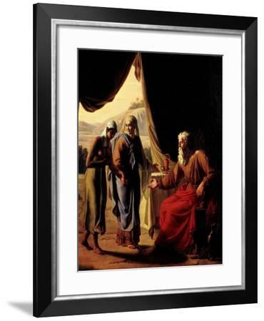 Abraham's Wife, Sarah, Presenting her Handmaid Hagar to her Husband as a Concubine-Andre Jacques Victor Orsel-Framed Giclee Print