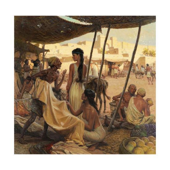 Abraham's Wife, Sarai, and a Slave Bargain for Cloth in a Marketplace-Tom Lovell-Giclee Print