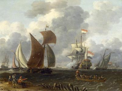 A Battle Offshore, 17th Century