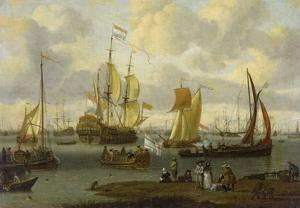 Poeple Walking at the Banks of the River Ij with Ships, 1693 by Abraham Storck