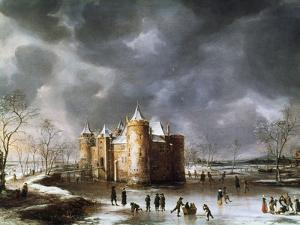 The Castle of Muiden in Winter, 1658 by Abrahamsz Beerstraten