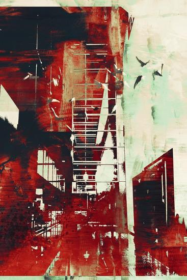 Abstract Architecture with Red Grunge Texture,Illustration Digital Art-Tithi Luadthong-Art Print