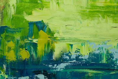 Abstract Art Background. Oil Painting on Canvas. Green and Yellow Texture. Fragment of Artwork. Spo-Sweet Art-Photographic Print