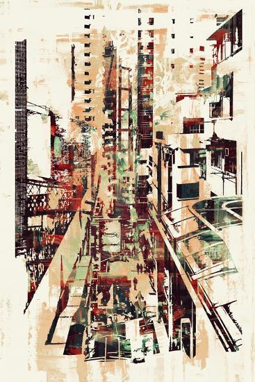Abstract Art of Cityscape,Illustration Painting-Tithi Luadthong-Art Print
