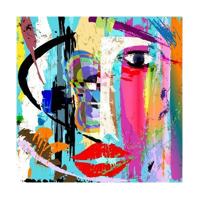 Abstract Background Composition, with Paint Strokes and Splashes, Face/Mask-Kirsten Hinte-Art Print