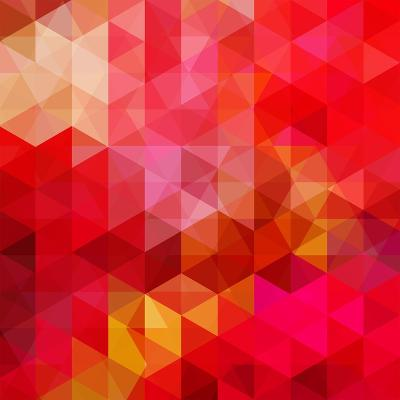Abstract Background Consisting of Red Triangles, Vector Illustration- tashechka-Art Print