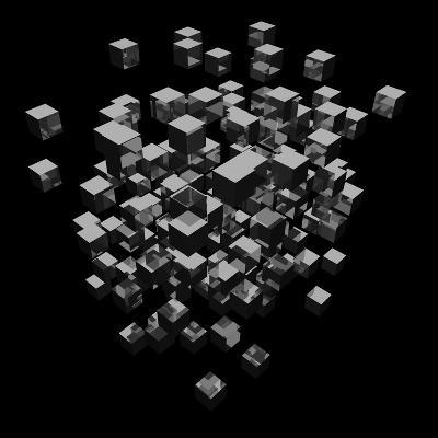 Abstract Background Cubes Explosion On Black-andegro4ka-Art Print