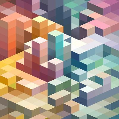 Abstract Background of Geometric Shapes-theromb-Art Print