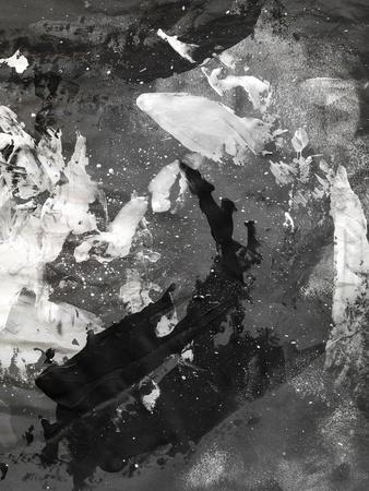 Abstract Black And White Ink Painting On Grunge Paper Texture - Artistic Stylish Background-run4it-Art Print