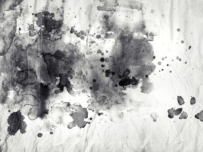 Abstract Black And White Ink Painting On Grunge Paper Texture-run4it-Art Print