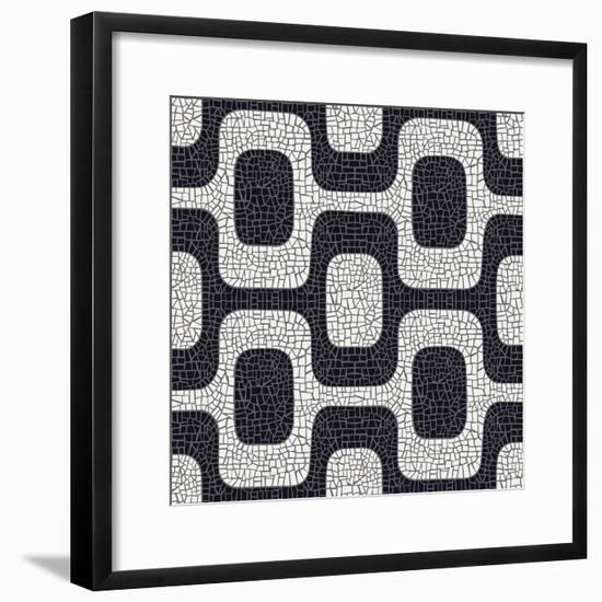 Abstract Black And White Pavement Pattern-cienpies-Framed Premium Giclee Print