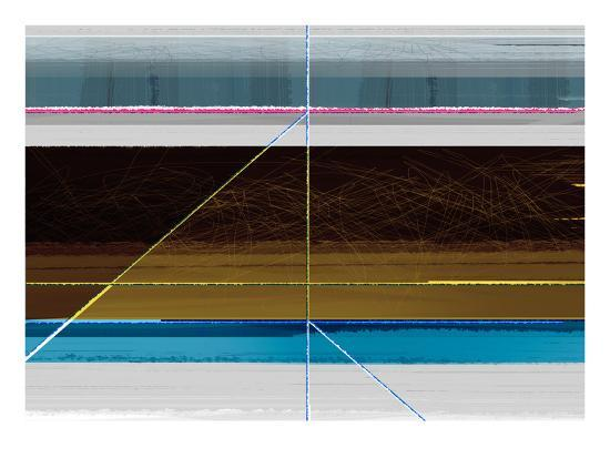 Abstract Blue and Brown Lines-NaxArt-Art Print