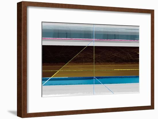 Abstract Blue and Brown Lines-NaxArt-Framed Art Print
