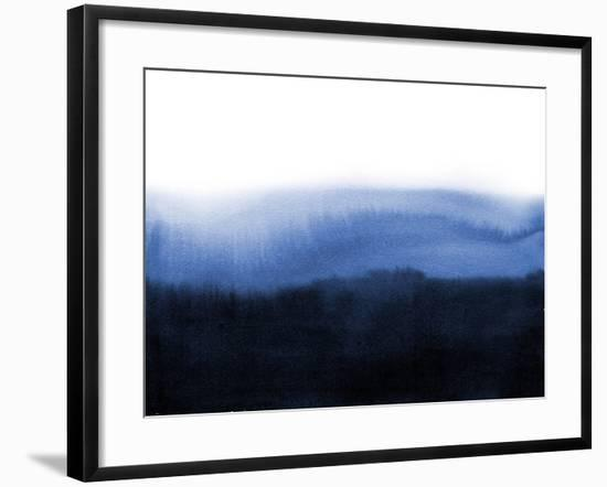 Abstract Blue Ink Wash Painting in East Asian Style. Grunge Texture. Traditional Japanese Ink Paint--Framed Art Print