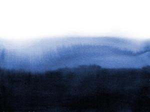 Abstract Blue Ink Wash Painting in East Asian Style. Grunge Texture. Traditional Japanese Ink Paint
