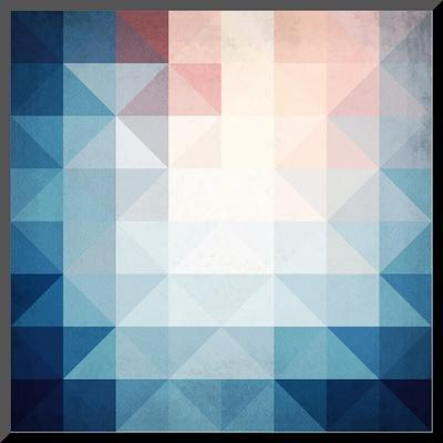 Abstract Blue Triangles Geometry-art_of_sun-Mounted Print