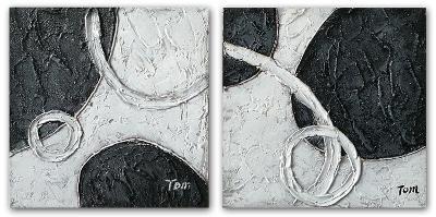 Abstract Circles in Black and White Set--Hand Painted Art