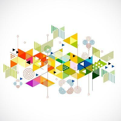 Abstract Colorful and Creative Geometric with a Variety of Geometric Pattern Background, Vector Ill- Studiojumpee-Art Print