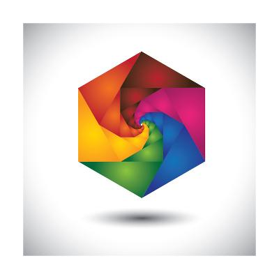 Abstract Colorful Hexagon With Infinite Spiral Steps-smarnad-Art Print