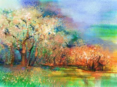 Abstract Colorful Landscape Painting. Oil Painting Mix Watercolor Technique on Paper. Semi- Abstrac-pluie_r-Art Print