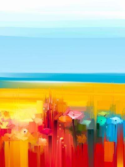 Abstract Colorful Oil Painting Landscape on Canvas. Semi- Abstract Image of Flowers, Meadow and Fie-pluie_r-Art Print