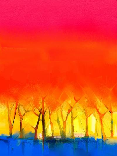Abstract Colorful Oil Painting Landscape on Canvas. Semi- Abstract Image of Tree and Red Sky. Sprin-pluie_r-Art Print