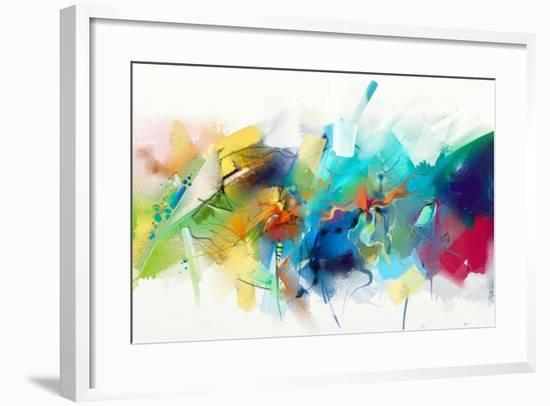 Abstract Colorful Oil Painting on Canvas Texture. Hand Drawn Brush Stroke, Oil Color Paintings Back-pluie_r-Framed Art Print