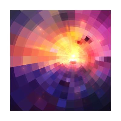 Abstract Colorful Shining Circle Tunnel Background-art_of_sun-Art Print