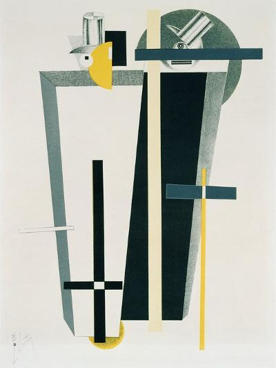 Abstract Composition in Grey, Yellow and Black-El Lissitzky-Giclee Print