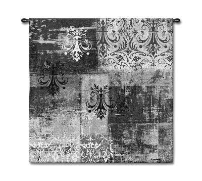 Abstract Damask Brushed Steel Square--Wall Tapestry
