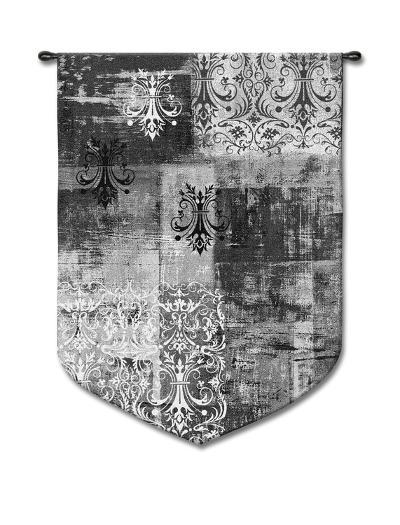 Abstract Damask Brushed Steel--Wall Tapestry