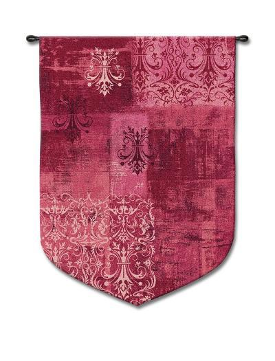 Abstract Damask Wineberry--Wall Tapestry