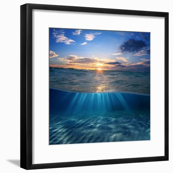 Abstract Design Template with Underwater Part and Sunset Skylight Splitted by Waterline-Willyam Bradberry-Framed Photographic Print