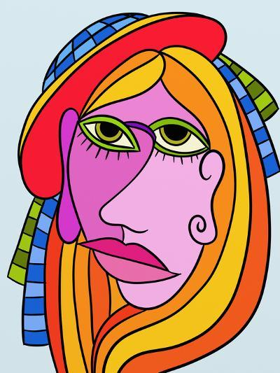 Abstract Design with Face of Woman-goccedicolore-Art Print