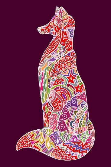 Abstract Doodle Outline Fox Illustration. Vector, Colorful Image.- Neliakott-Art Print