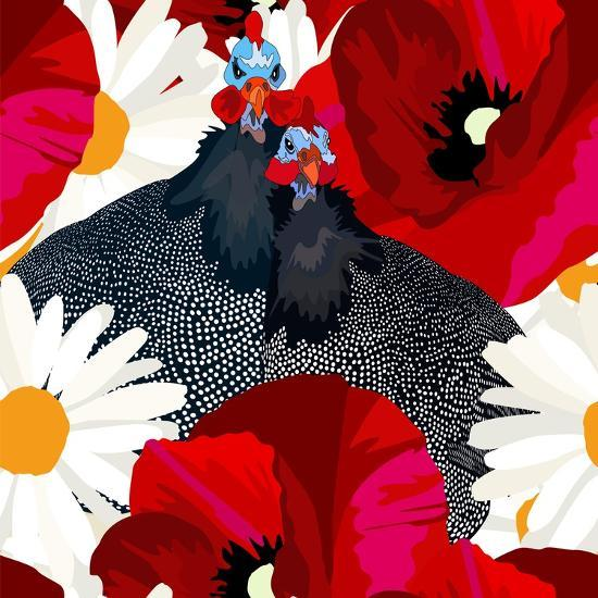 Abstract Draw Rooster Hen, Floral Background (Daisy, Red Poppy), Black White Polka Dots, Seamless P-Viktoriya Panasenko-Art Print