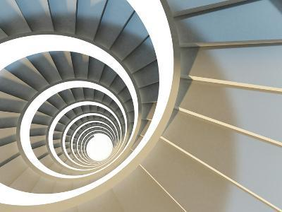 Abstract Endless Spiral Staircase with Soft Shadows. View from Above. 3D-Illustration-Maria Kazanova-Art Print