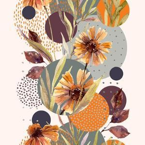 Abstract Floral and Geometric Seamless Pattern. Watercolor Flowers and Leaves, Circle Shapes Filled