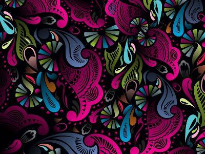 Abstract Floral Pattern, Highly Detailed Seamless Design, Vector Illustration.- redshinestudio-Art Print