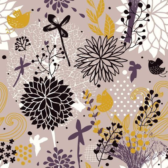 Abstract Floral Pattern in Vintage Colors-smilewithjul-Art Print