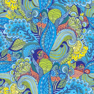 Abstract Floral Pattern - Tropical Motif-radugaart-Art Print