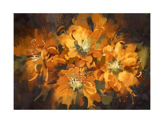 Abstract Flower Digital Painting,Illustration-Tithi Luadthong-Art Print