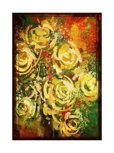 Abstract Flowers Vintage Style,Digital Painting-Tithi Luadthong-Art Print