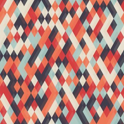 Abstract Geometric Background for Business, Web Design, Print. Colorful Rhombus Seamless Pattern. R- Churunchik-Art Print