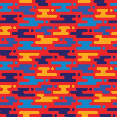 Abstract Geometric Background - Seamless Vector Pattern in Flat Style Design. Blue, Orange and Red-Sergey Korkin-Art Print