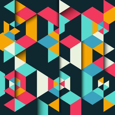 Abstract Geometric Background with a 3D Effect-kjpargeter-Art Print