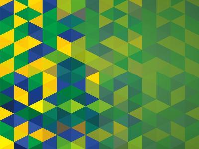 Abstract Geometric Brazil Flag-cienpies-Art Print
